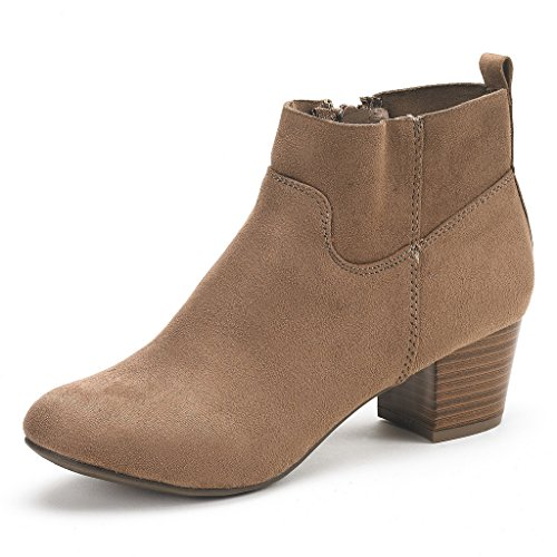 PAIRS Heel Chunky Women's Ankle Cowboy Stylish Closure Booties Block DREAM Zipper Taupe KEENY dw4Tqd1
