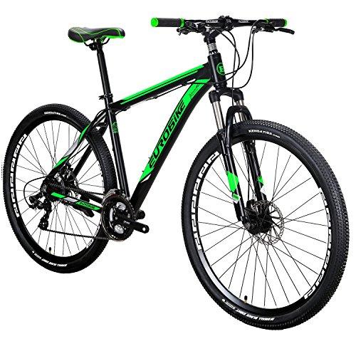 Eurobike EURX9 Mountain Bike 21 Speed 29 Inches Spoke Wheels Dual Disc Brake Aluminum Frame MTB Bicycle Blackgreen