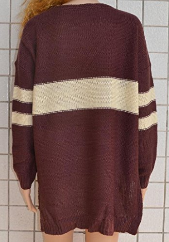 Collar Sweater Brown V amp;W Loose Sleeve Long Women's M Fashion amp;S S6wwXg