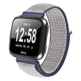TenCloud For Fitbit Versa Health Care Watch Replacement Accessories Soft Sport Nylon Weave Loop Band Regular (NO Watch) (Navy Blue)