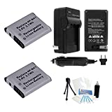 2-Pack NP-BK1 High-Capacity Replacement Batteries with Rapid Travel Charger for Select Sony Digital Cameras. UltraPro Bundle Includes: Camera Cleaning Kit, Screen Protector, Mini Travel Tripod
