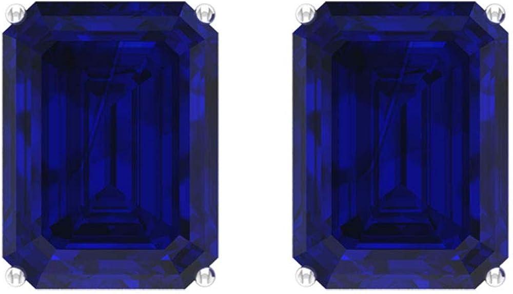 Pendientes de zafiro azul de 5.8 ct creado en laboratorio, forma octogonal, pendientes de piedras preciosas, pendientes de fiesta, pendientes de aniversario para mujeres, tornillo hacia atrás
