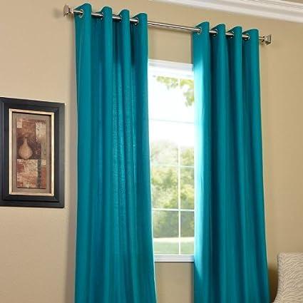 PINDIA 2 Piece Combo Faux Silk Eyelet Polyester Plain Ringtop Door Window Curtain - 7 ft, Aqua
