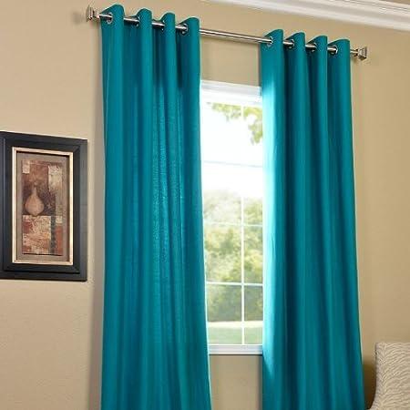 PINDIA 4 Piece Eyelet Polyester Window Curtain Set - 6Ft, Aqua