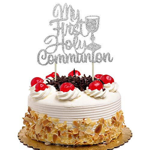 My First Holy Communion Cake Topper for Kids Birthday, Baby Shower, Wedding Baptism Christening Party Decorations Silver Glitter ()
