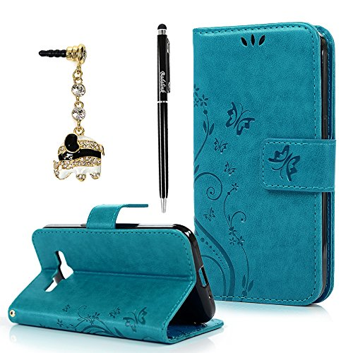 Badalink Core Prime Case,Galaxy Core Prime Case - Fashion Wallet Purse 3D Embossed Butterflies PU Leather Kickstand Flip Cover Shockproof TPU Inner Bumper Hand Strap Dust Plug Stylus Pen Blue