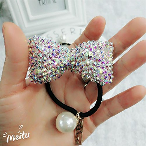 Header Bow - usongs full house woman diamond drill large bow hair ring header tie rope elastic band plate made headdress ornaments