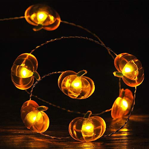 IMPRESS LIFE Fall Pumpkin Led String Lights, 10ft Silver Wire 40 LEDs Battery Powered with Remote & Timer for Thanksgiving Wedding Birthday Parties, DIY Home Mantel New Year Decoration