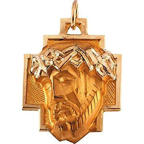 14K Yellow Gold Head Of Jesus With Crown Cross Pe