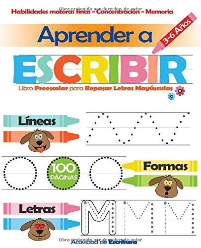 Aprender a Escribir: Libro Preescolar para Repasar Letras Mayúsculas 3-6 Años: Actividad de Escritura: Amazon.es: Jeunesse, Martin: Libros