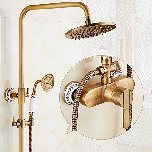 Seven - Word Sapphire of bluee and White Porcelain X-shower All Copper Retro Shower Shower Faucet Set, Hot And Cold Copper Bronze Shower Shower Set,Seven Words And Seven Words For The Lantern