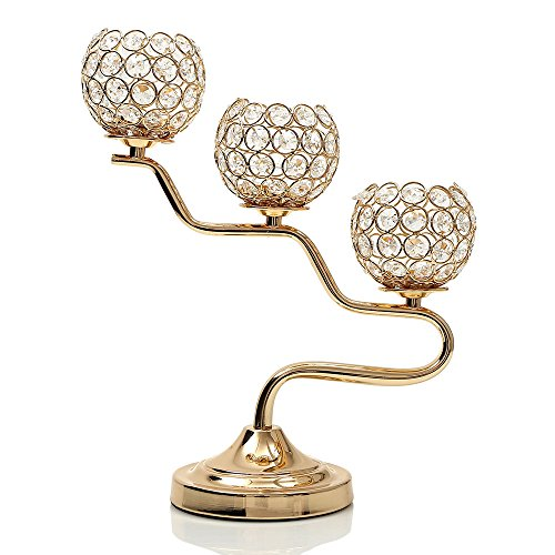 VINCIGANT Gold Crystal Candelabra for Home Holiday Decoration/Wedding Coffee Table Centerpiece,Gifts for Mothers Day/New Year/Birthday/Housewarming Fire Tea Plate
