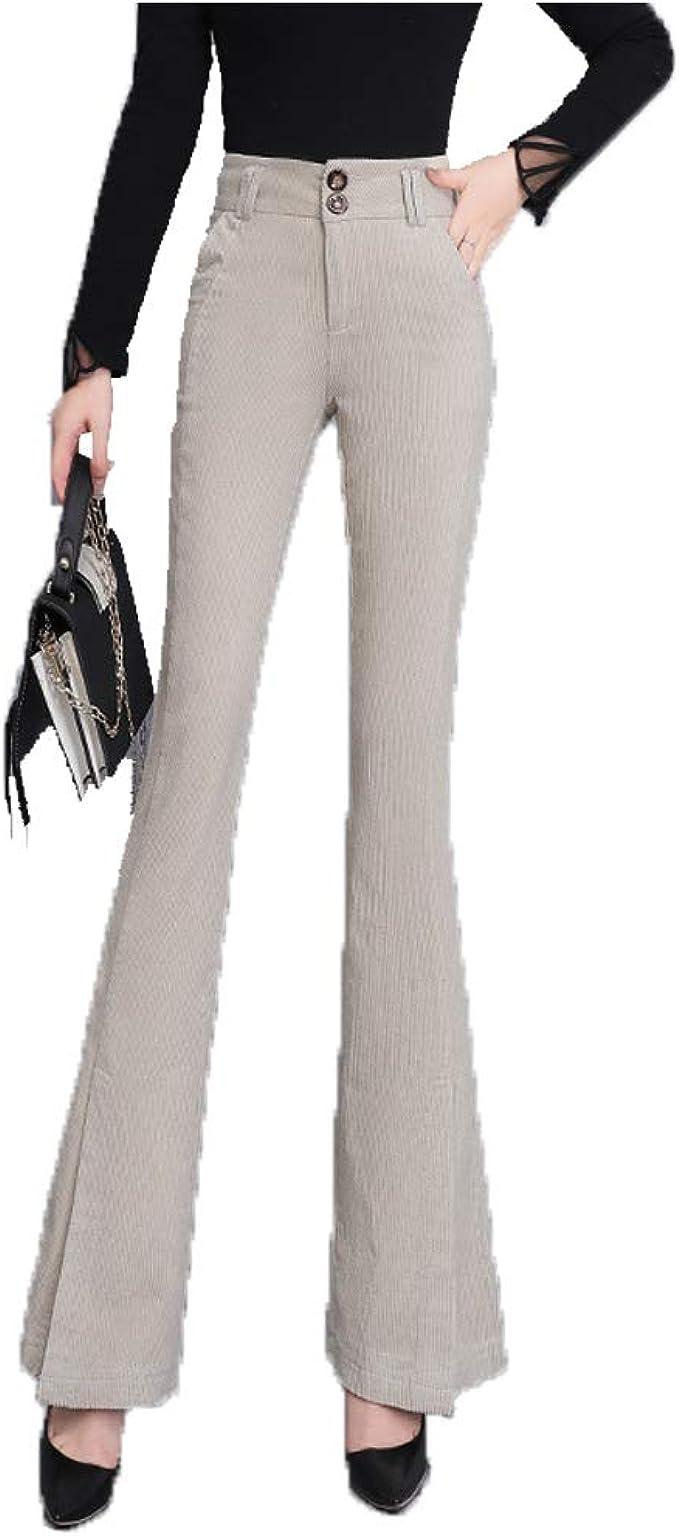 Amazon Com Lghxlxry Pantalones De Vestir De Pana Para Mujer Con Cintura Alta Comodos Con Bolsillo Clothing