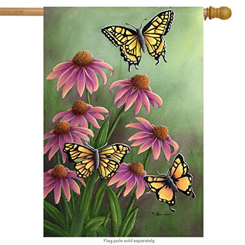 Butterfly Flag - Echinacea Butterfly Spring House Flag Flowers Butterflies 28