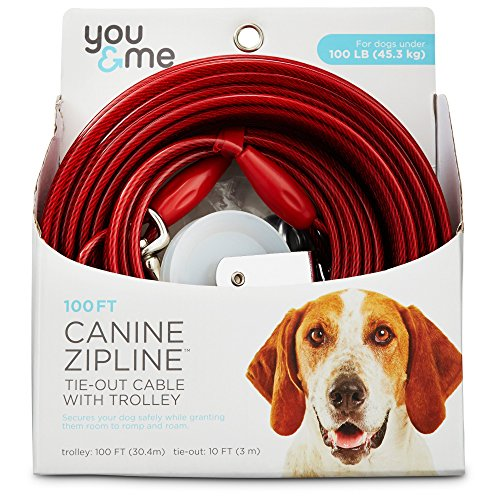 (You & Me Red Large Canine Zipline Dog Tie-Out Cable with Trolley, 100')