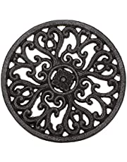"""Sumnacon 6.7"""" Cast Iron Trivet, Decorative Round Trivet Mat Hot Pot Holder Pads with Vintage Pattern and Rubber Pegs/Feet for Rustic Kitchen Counter Or Dining Table"""