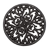 Sumnacon 6.7' Cast Iron Trivet, Decorative Round Trivet Mat Hot Pot Holder Pads with Vintage Pattern and Rubber Pegs/Feet for Rustic Kitchen Counter Or Dining Table