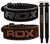 RDX Powerlifting Belt Cow Hide Leather Gym Training Nubuck Weight Lifting Double Prong