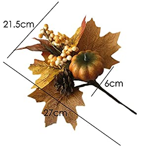 Merryoung Artificial Pumpkin Bouquet with Maple Leaves Berry Pinecones Decoration for Fall Display Wedding Party Holiday Miniature Garden Venue Decoration Craft DIY Pack of 1 2