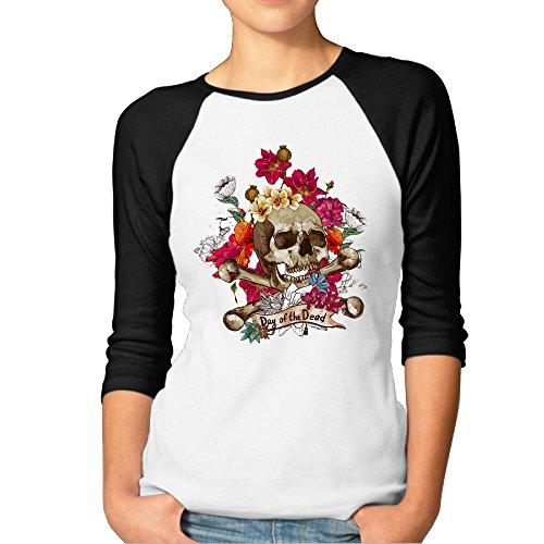 Dead Womens Raglan Hoodie - F.Pansy Women's Flower Dead Skeleton Head 3/4 Sleeve Baseball Tee Raglan T-Shirts Black XXL