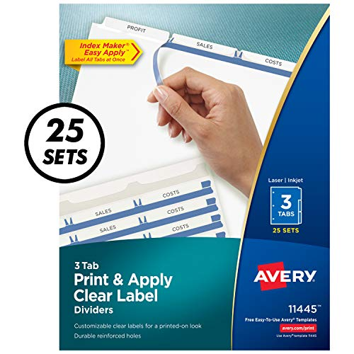 Avery 3-Tab Binder Dividers, Easy Print & Apply Clear Label Strip, Index Maker, White Tabs, 25 Sets (11445)