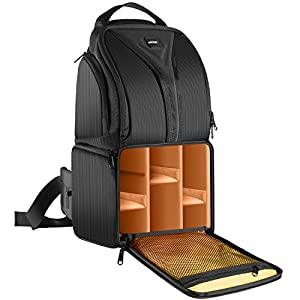 picture of Neewer Camera Sling Backpack Case 9.8x7.9x16.9Inch/24.9x20x42.9Centimeter Waterproof Lightweight and Durable for DSLR and Mirrorless Camera(Canon Nikon Sony Pentax Olympus Fujifilm Panasonic) Orange