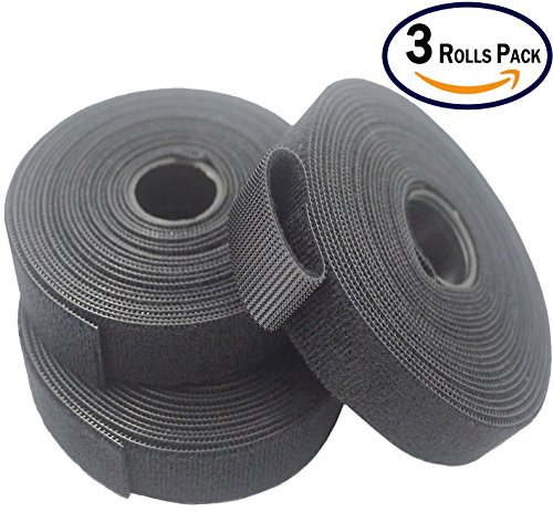 Black Cable Ties Fastener (3/4 Inch x 5 Yards x 3 Rolls) Self-Fastening Power Cords Wire Management - Resuable Fastening Tape Strap - Double Side Hook & Loop Black, One Wrap Strap (3 Packs) (Velcro Plant Ties)