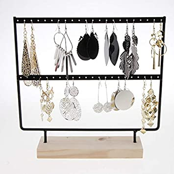 Gebuter Wooden Earrings Holder 2 Layer 24 Holes Large Capacity Jewelry Display Stand Jewelry Earring Stand Display Rack Luxury Jewelry Stand Display Hanger Rack