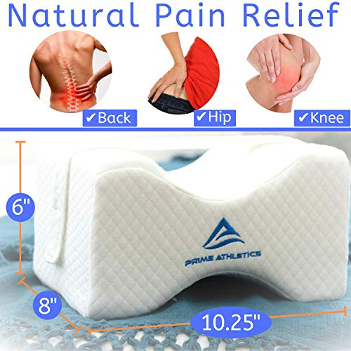 Knee Pillow for Side Sleepers - Sciatic Nerve Back Pain Relief, Best for Pregnancy, Hip, Knee, Leg, Joint & Spine Alignment, Orthopedic Memory Foam Leg Pillow Wedge Contour w/Strap, Cotton Cover & Bag