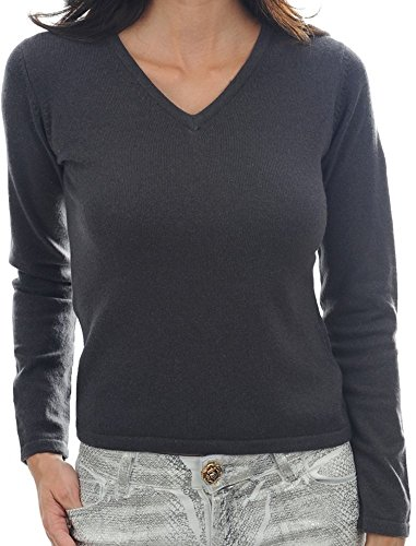 Balldiri 100% Cashmere Kaschmir Damen Pullover 2-fädig V-Ausschnitt anthrazit XL