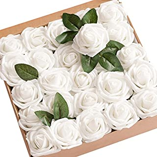 White flower my furnitureore lings moment pack of 50 white real looking artificial roses wstem for diy wedding mightylinksfo