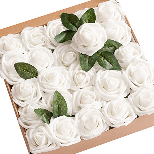 Ling's moment Artificial Flowers 25pcs Real Looking White Fake Roses w/Stem for DIY Wedding Bouquets Centerpieces Bridal Shower Party Home Decorations