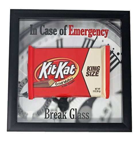 (Kit Kat Gimme a Break Candy Bar in Case of Emergency Break Glass Funny Gift | Shadow Box Frame | Chocolate Coworker)