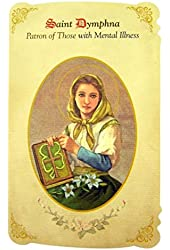 Silver Tone Saint Dymphna Patron of Those with Mental Illness Medal and Holy Card, 1 Inch
