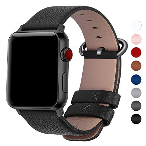 Fullmosa Compatible Apple Watch Band 38mm 40mm 42mm 44mm,Genuine Leather Band Compatible iWatch Band, 38mm 40mm Black + Gunmetal Buckle from Fullmosa