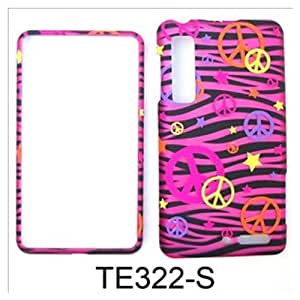For Motorola Droid 3 Case Cover - Peace Signs Pink Zebra Stars Rubberized Pink Yellow Orange Purple TE322-S