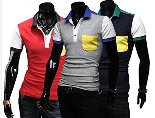 GuDeKeメンズ 夏 ポロシャツ トップス 半袖 無地 カットソー 胸ポケット プルオーバー きれいめ カジュアル ゴルフウエア メンズ ファッション