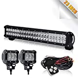 "TURBOSII 22/23 Inch Led Light Bar 144w 14400LM Spot Flood Combo Work Light Off Road Lights Driving Lights + 4"" Led Cube Light For Jeep Ford Dodge Ram Yukon Kubota Tractor Truck Polaris Ranger"