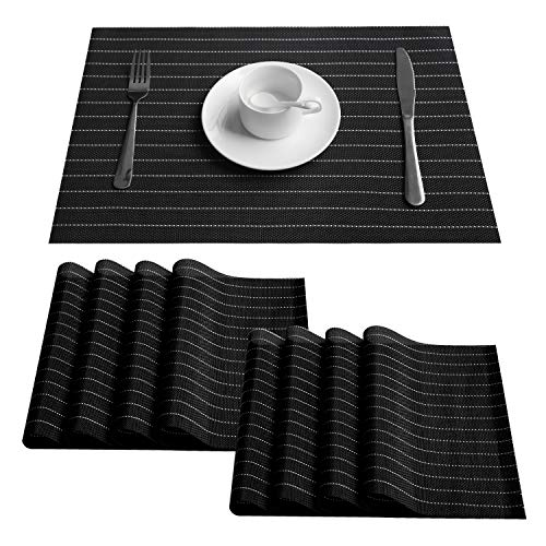 (Top Finel Placemats for Dining Table Woven Vinyl Place Mats for Kitchen Table Mats Set of 8 Heat Resistant,Black)