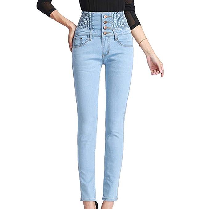 Mujer Pantalones de Lápiz Jeans Slim Elasticidad Apretado ...