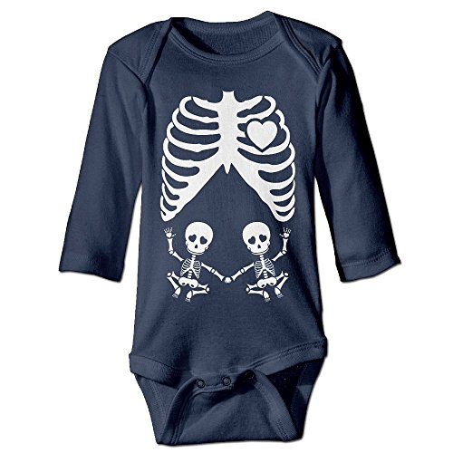 Skull Maternity Skeleton Twin Baby Long Sleeves Climbing Clothes Unisex Romper Jumpsuit Size 24 Months Navy Personalize (Skeleton Maternity Shirt Iron On)