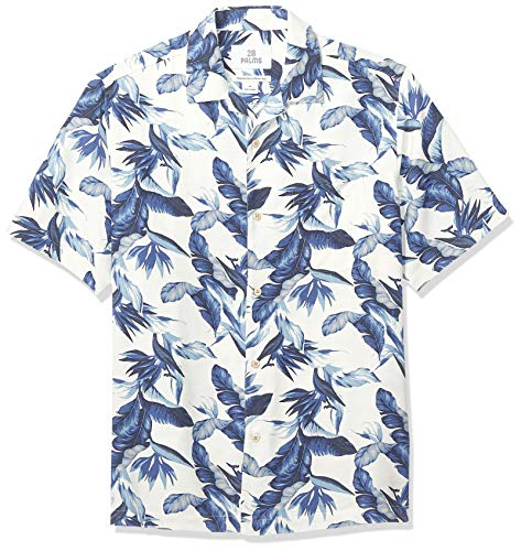 28 Palms Men's Relaxed-Fit 100% Silk Tropical Hawaiian Shirt, Vintage Blue/White Floral, ()