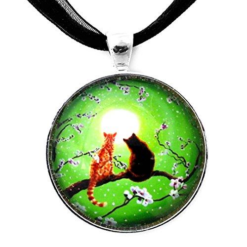 Laura Milnor Iverson Orange Tabby Black Cats Pendant Necklace Green Zen Moon Cherry Blossoms Handmade Jewelry