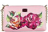 Dolce&Gabbana women's leather clutch with shoulder strap handbag bag purse pink