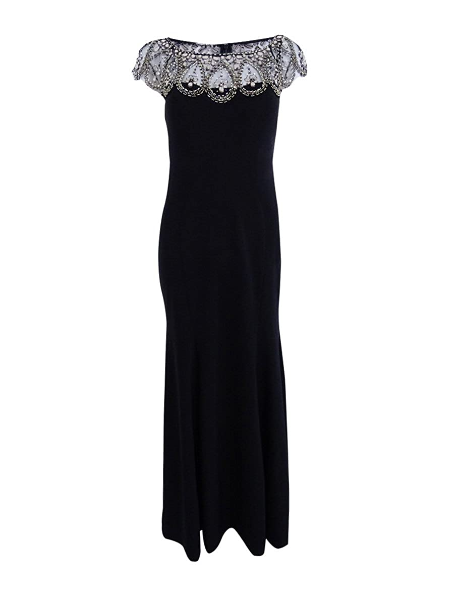 Xscape Petite Beaded Cap-Sleeve Gown at Amazon Women\'s Clothing store: