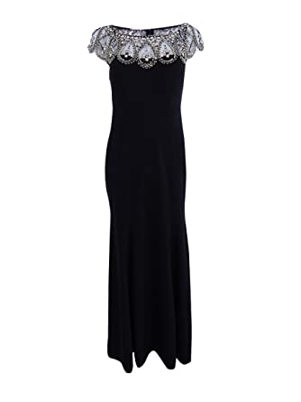 5a3d7f1d1 Xscape Petite Beaded Cap-Sleeve Gown (Black, 10P) at Amazon Women's  Clothing store: