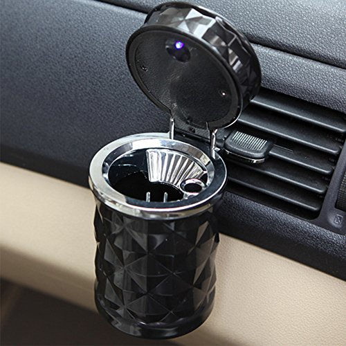 Tripolar Smokeless Cigars Cup Holder Ashtray with Personality Led Lights-White Diamonds Portable Auto Vehicle Car Ashtray with Lids,Black