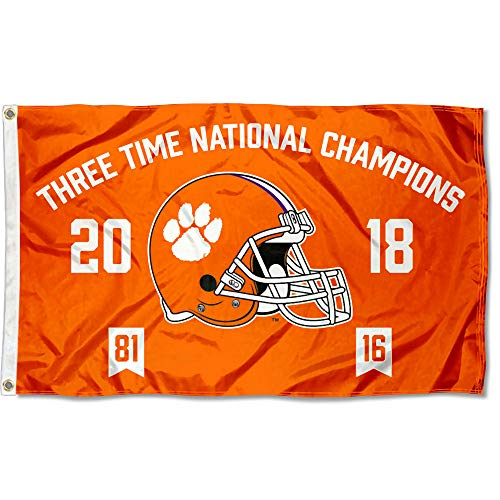 Clemson Tigers Three Time College Football National Champions Flag ()