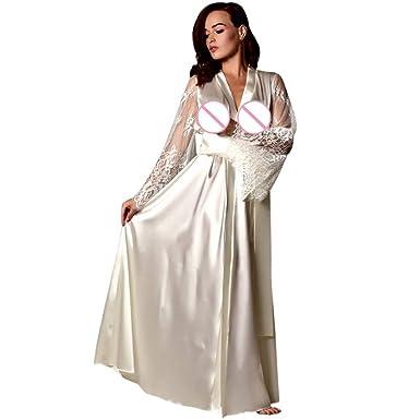 Mymyguoe Mujeres satén camisón Largo de Seda de Encaje Ropa Interior camisón Ropa de Dormir Sexy túnica: Amazon.es: Ropa y accesorios