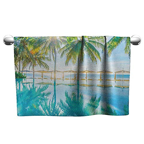 Valentines Landscape,Pool by The Beach with Seasonal Eden Hot Sunny Humid Coastal Bay Photography, Green Blue,Quick Dry Towel for Swimmers
